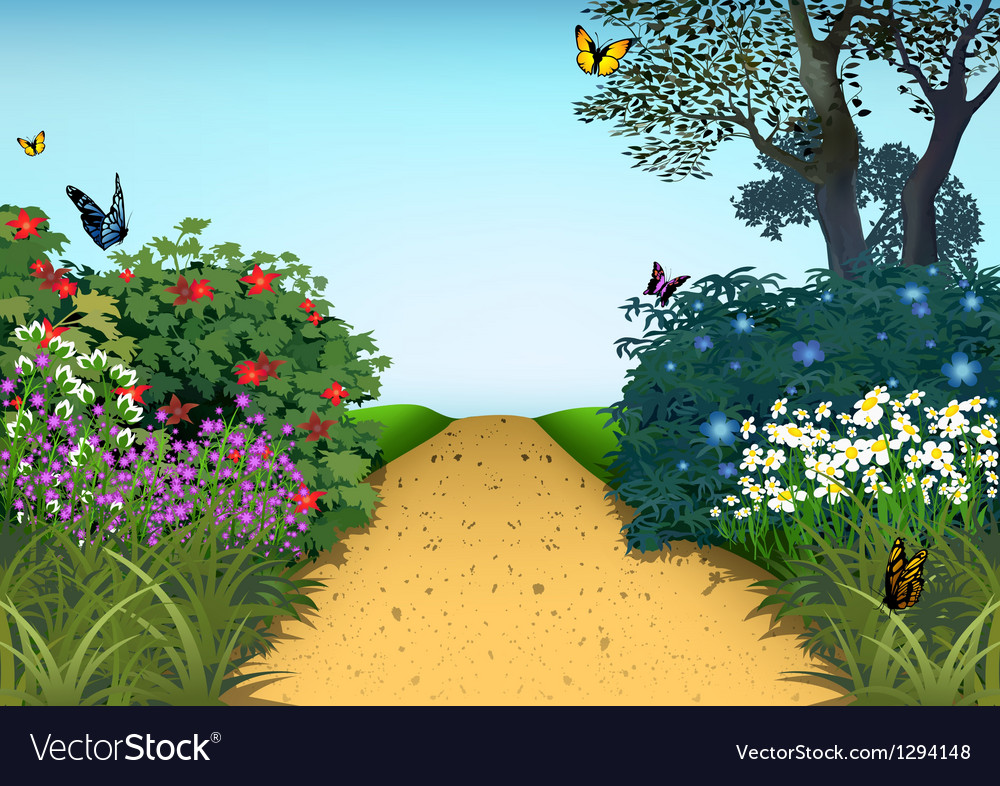 Summer garden vector | Price: 1 Credit (USD $1)