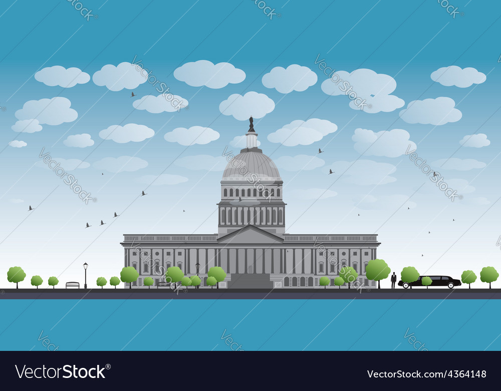 Washington dc capitol landscape vector | Price: 1 Credit (USD $1)