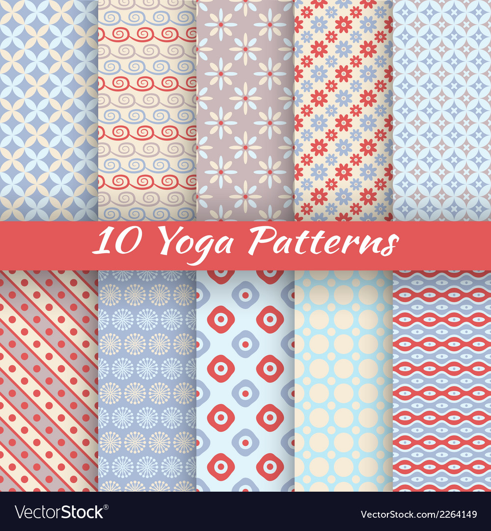 10 yoga seamless patterns tiling vector | Price: 1 Credit (USD $1)
