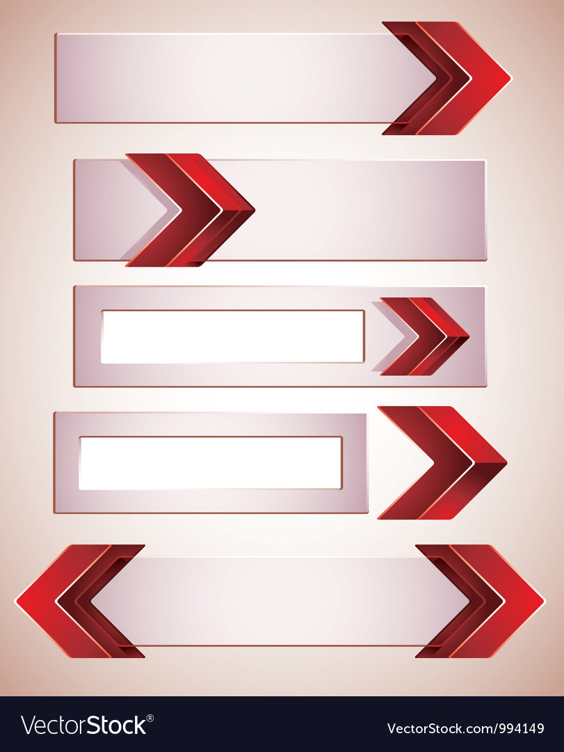 3d banners finished with red arrows vector | Price: 1 Credit (USD $1)