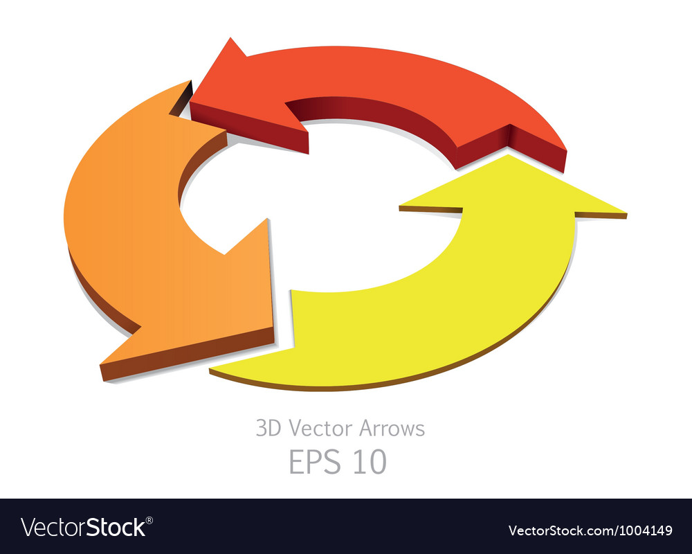 3d colorful arrows circle vector | Price: 1 Credit (USD $1)