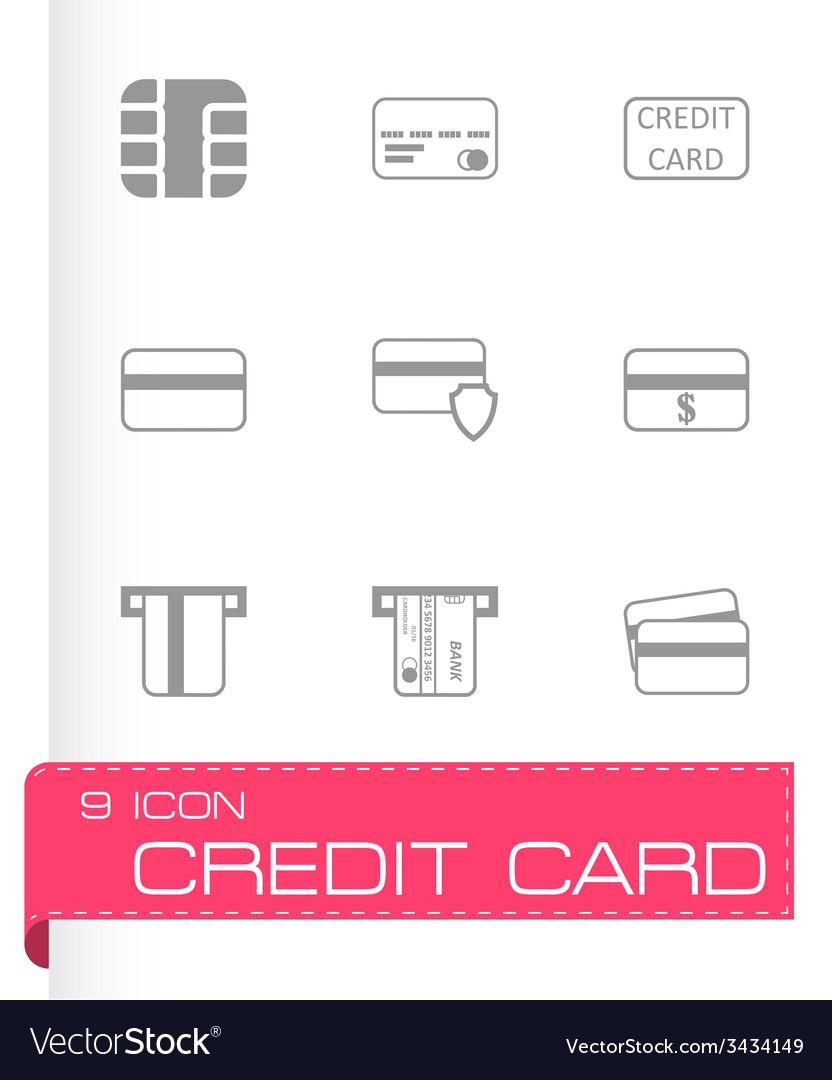 Black credit card icon set vector | Price: 1 Credit (USD $1)