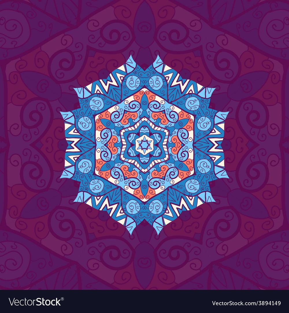 Blue mandala oriental design over violet vector | Price: 1 Credit (USD $1)