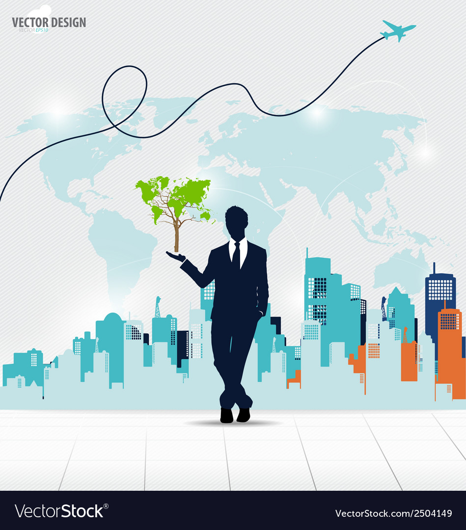 Businessman showing tree shaped world map vector | Price: 1 Credit (USD $1)