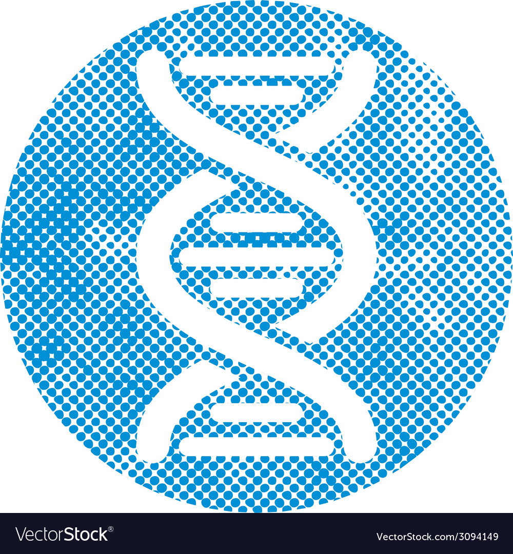 Dna icon with pixel print halftone dots texture vector | Price: 1 Credit (USD $1)