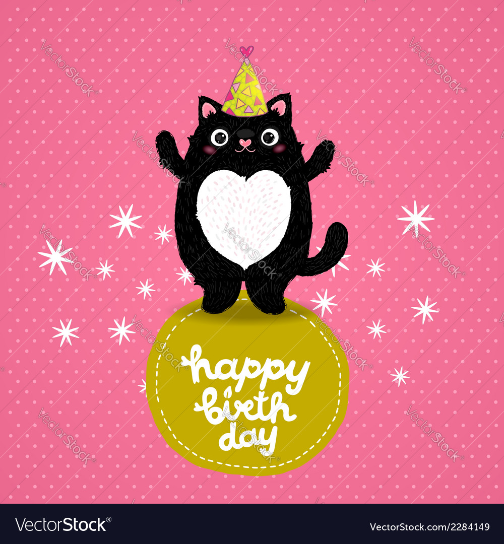Happy birthday card background with a cat vector | Price: 1 Credit (USD $1)