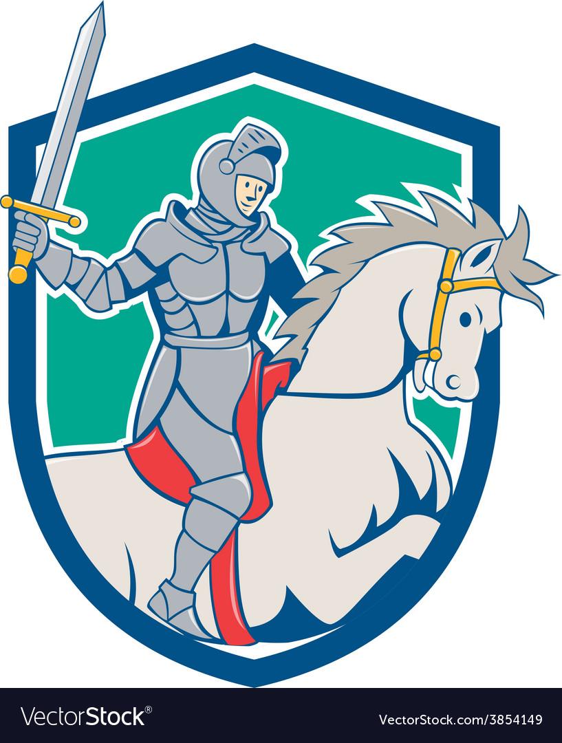 Knight riding horse sword cartoon vector | Price: 1 Credit (USD $1)