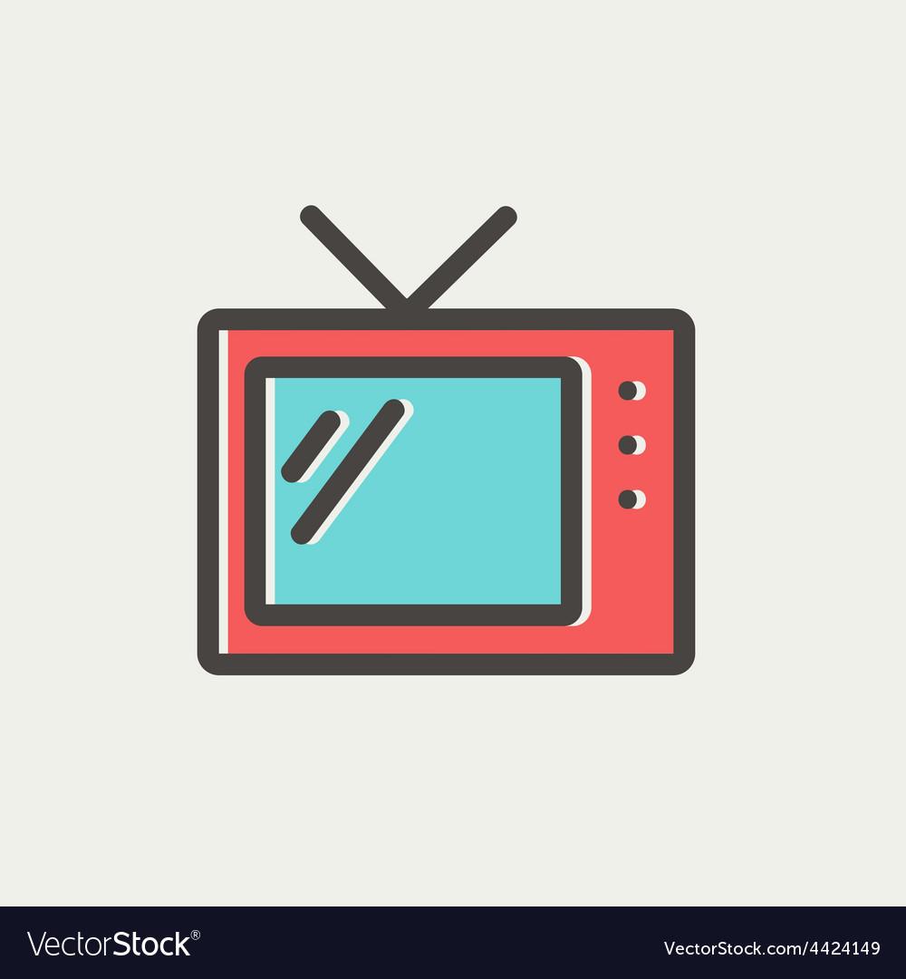 Retro television thin line icon vector | Price: 1 Credit (USD $1)