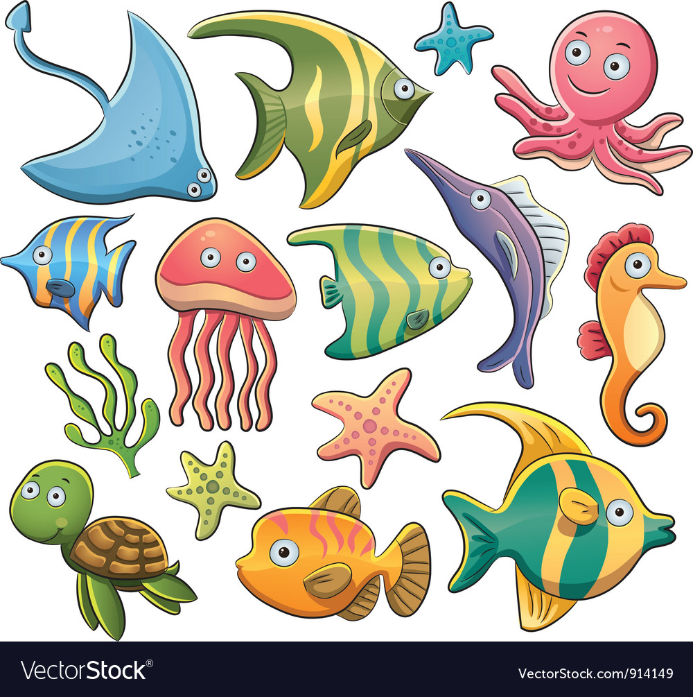 Sea animals collection vector | Price: 5 Credit (USD $5)