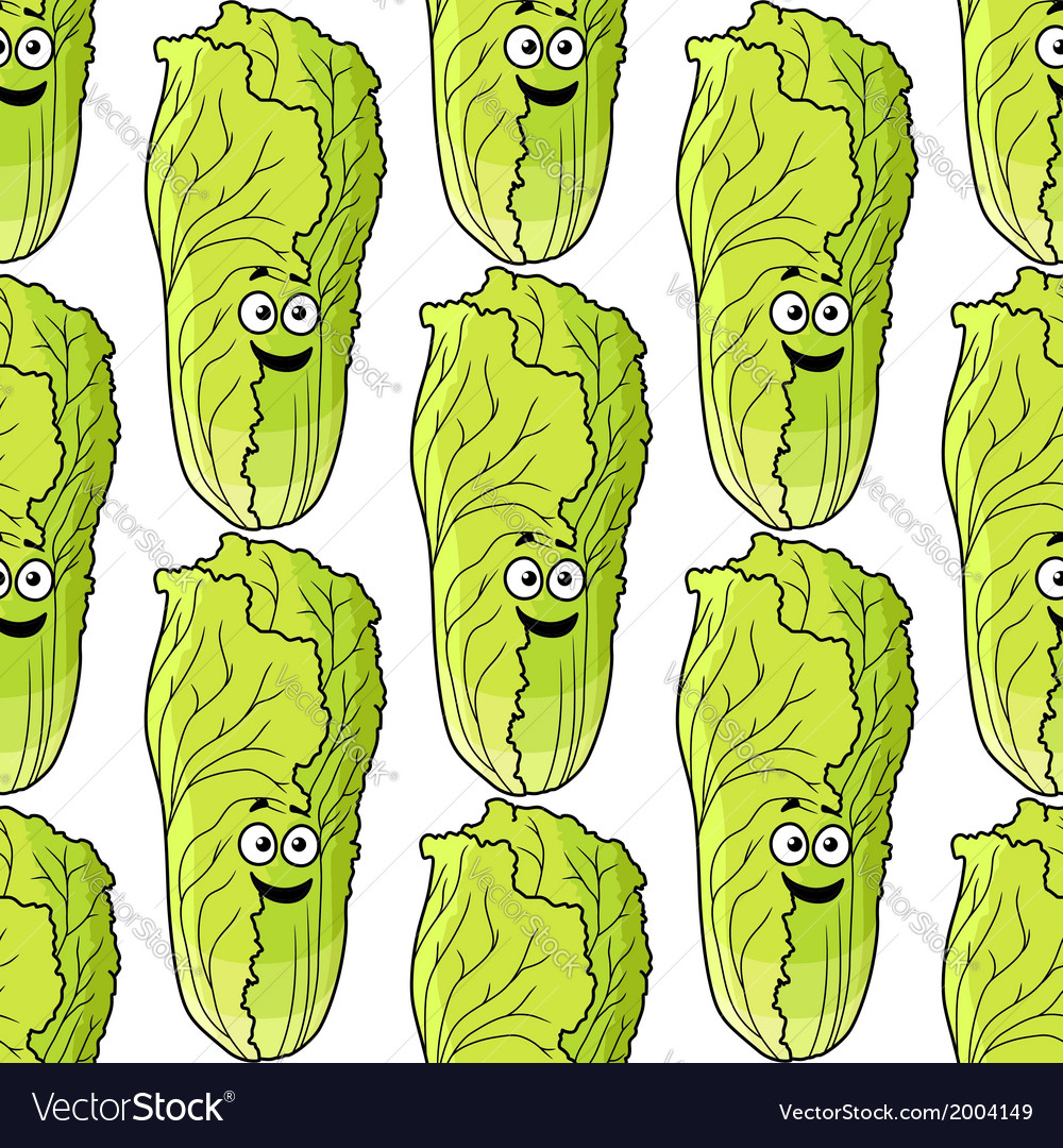 Seamless pattern of fresh chinese lettuce vector | Price: 1 Credit (USD $1)