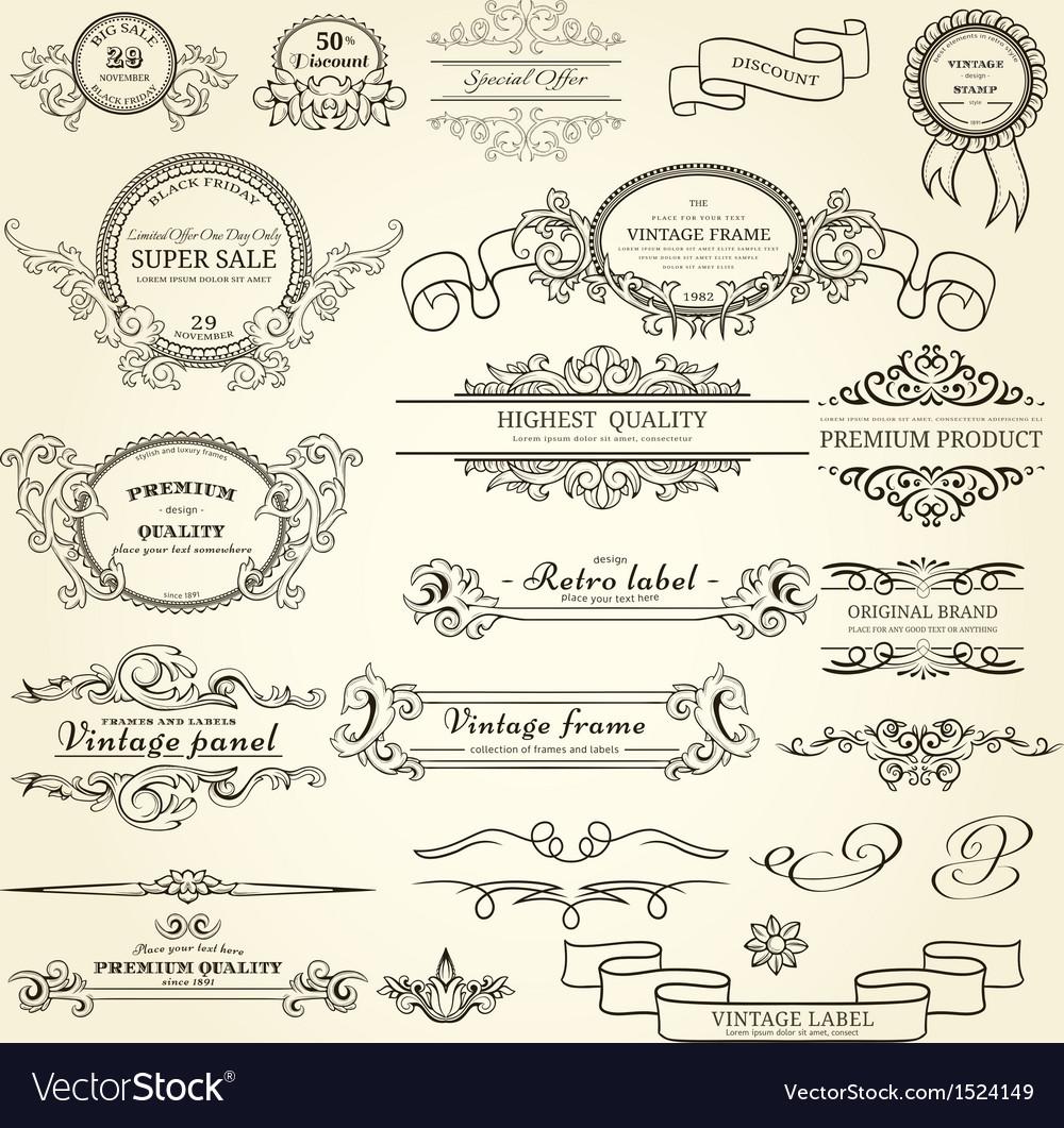Set of vintage elements vector | Price: 1 Credit (USD $1)