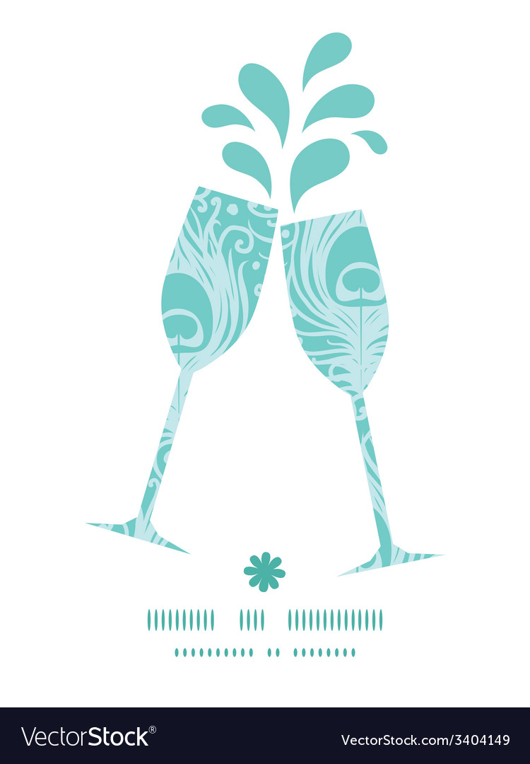 Soft peacock feathers toasting wine glasses vector | Price: 1 Credit (USD $1)