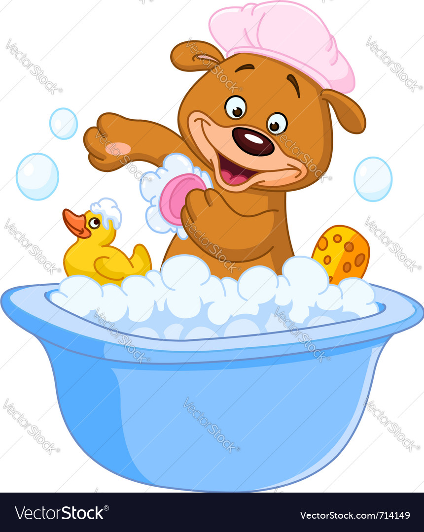 Teddy bear taking a bath vector | Price: 3 Credit (USD $3)