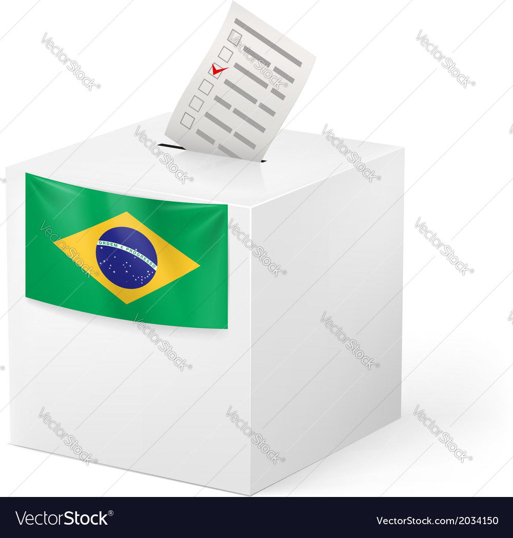 Ballot box with voting paper brazil vector | Price: 1 Credit (USD $1)