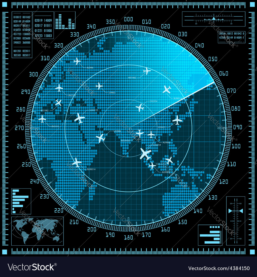 Blue radar screen with planes and world map vector | Price: 1 Credit (USD $1)