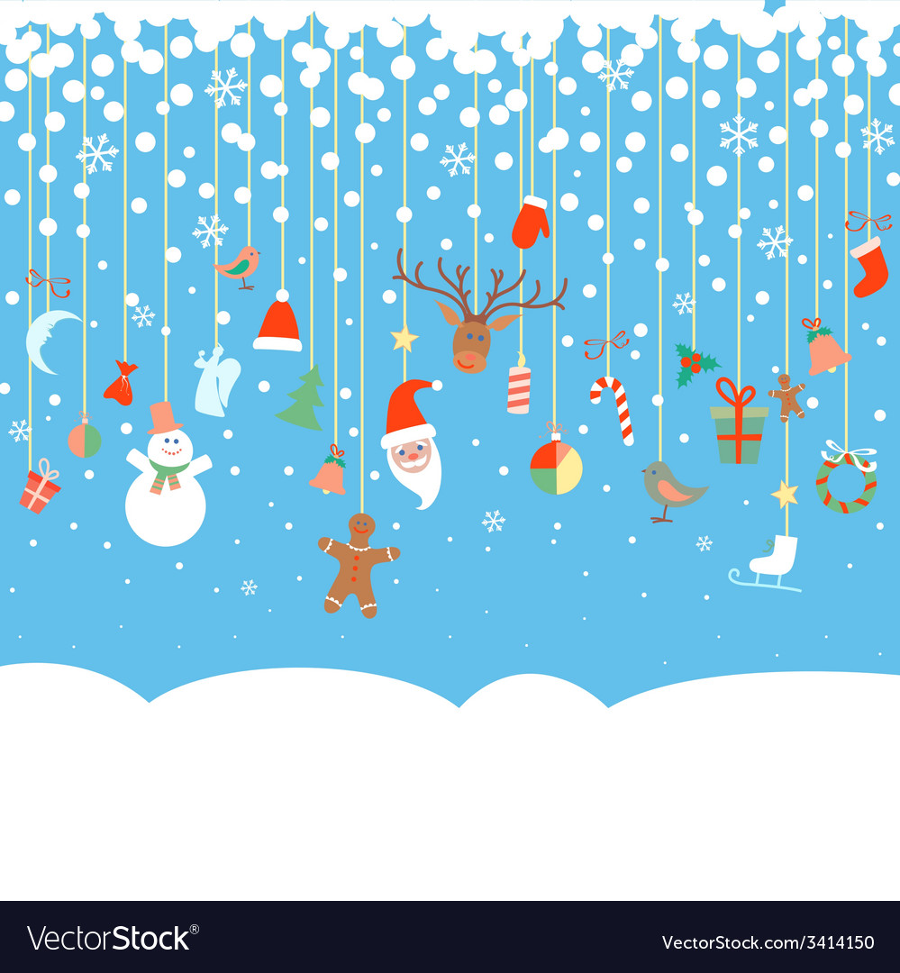 Blue snowy background with christmas garland vector | Price: 1 Credit (USD $1)