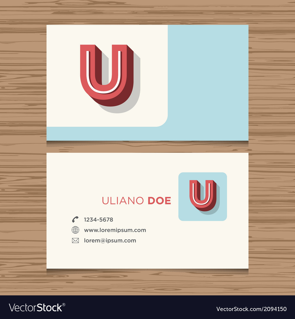 Business card letter u vector | Price: 1 Credit (USD $1)