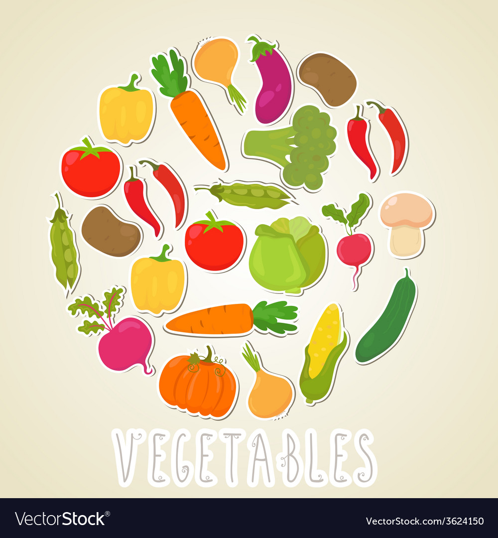 Color vegetables healthy lifestyle circle design vector | Price: 1 Credit (USD $1)