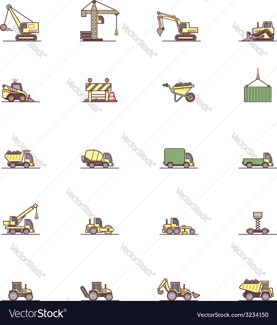 Construction machinery icon set vector | Price: 1 Credit (USD $1)