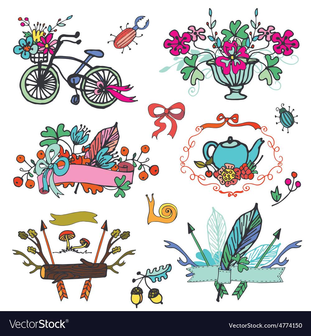 Doodle floral grouphand sketch vintage element vector | Price: 1 Credit (USD $1)