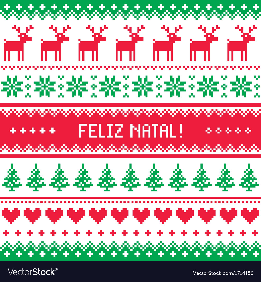 Feliz natal card - scandynavian christmas pattern vector | Price: 1 Credit (USD $1)