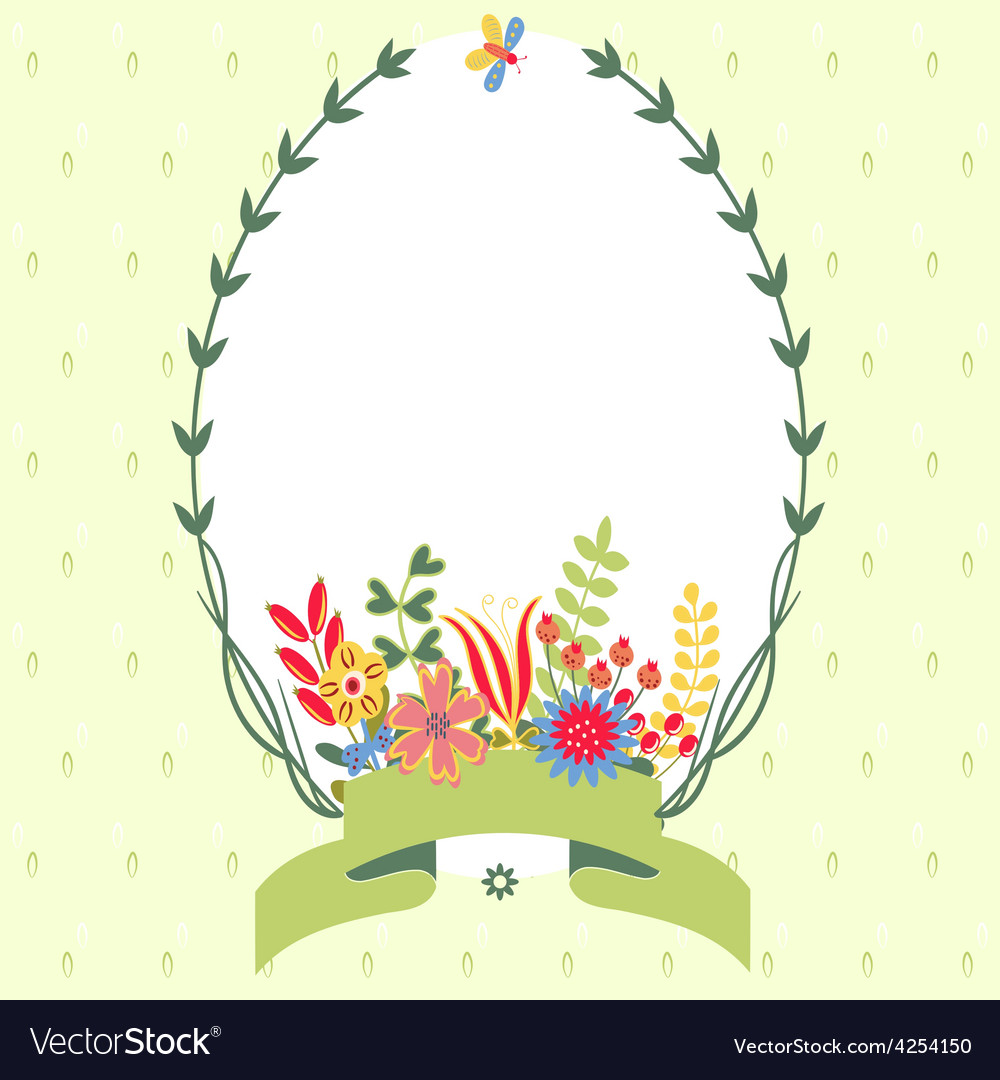 Frame with floral background vector | Price: 1 Credit (USD $1)
