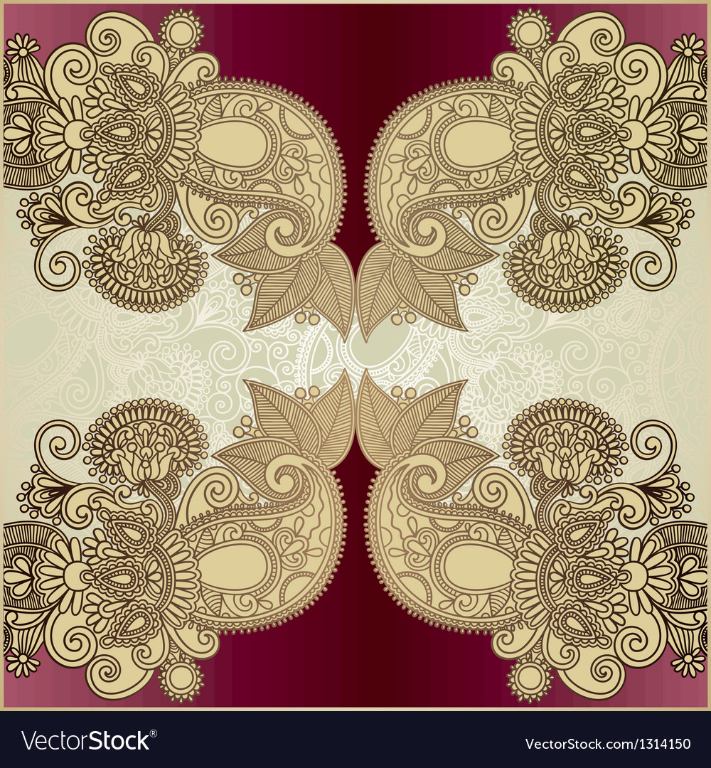 Hand draw ornate floral background vector | Price: 1 Credit (USD $1)