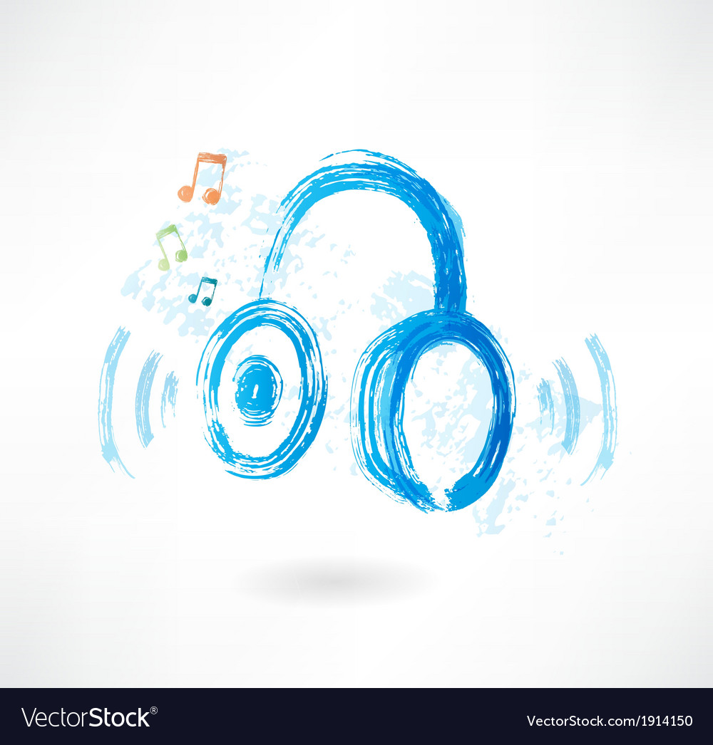 Headphones grunge icon vector | Price: 1 Credit (USD $1)