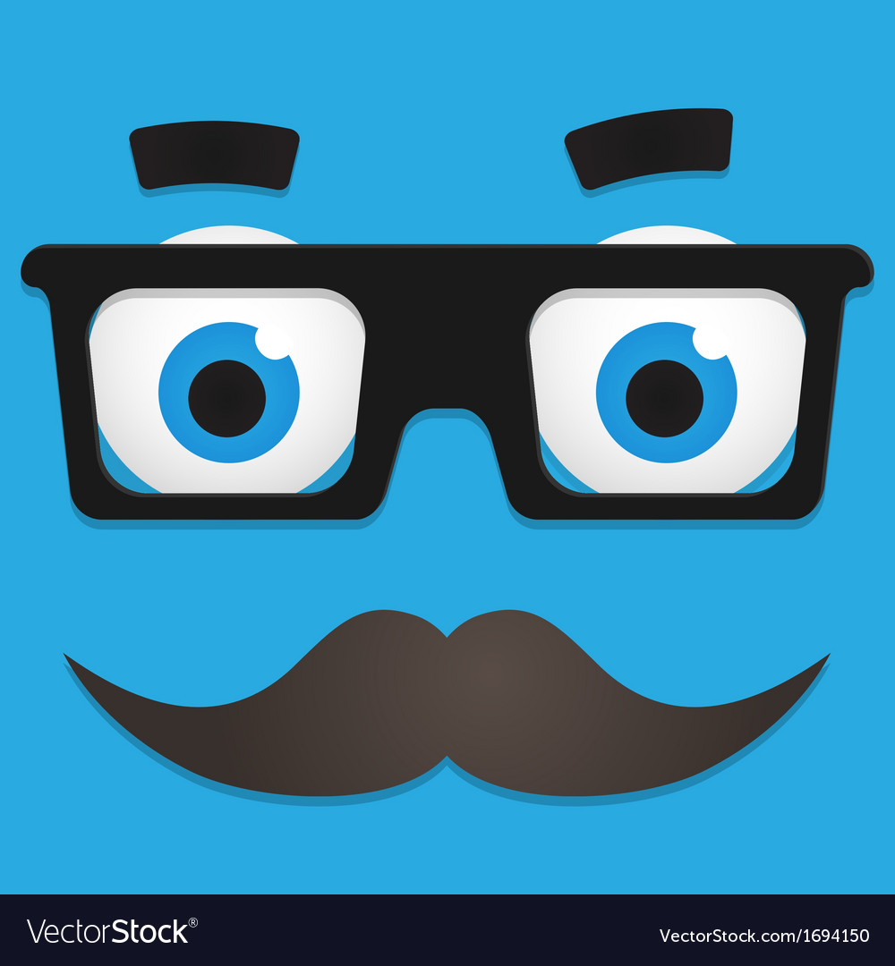 Hipster avatar with geek glasses and mustache vector | Price: 1 Credit (USD $1)