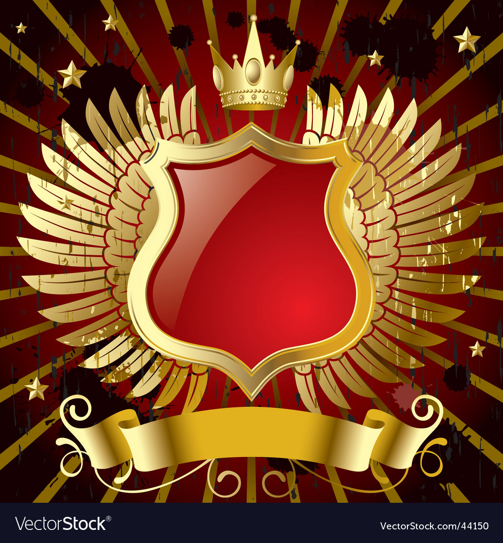 Red banner with gold wings vector