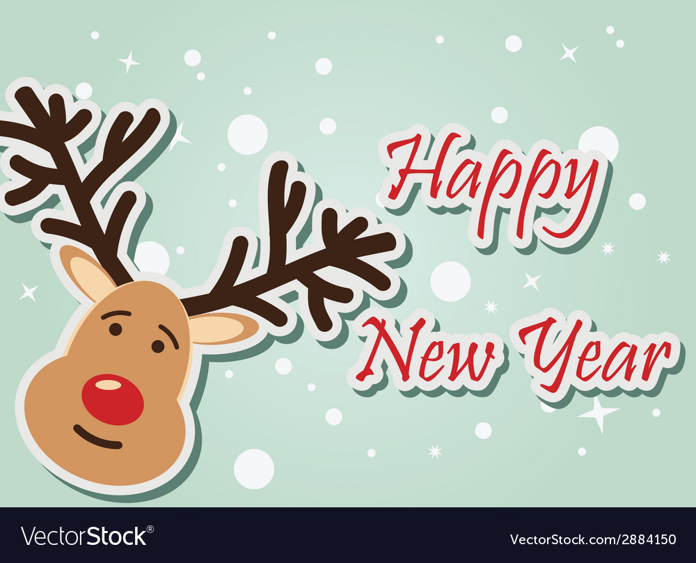 Reindeer happy new year vector | Price: 1 Credit (USD $1)