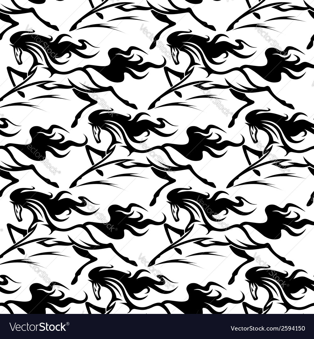 Seamless pattern of horse stallions vector | Price: 1 Credit (USD $1)