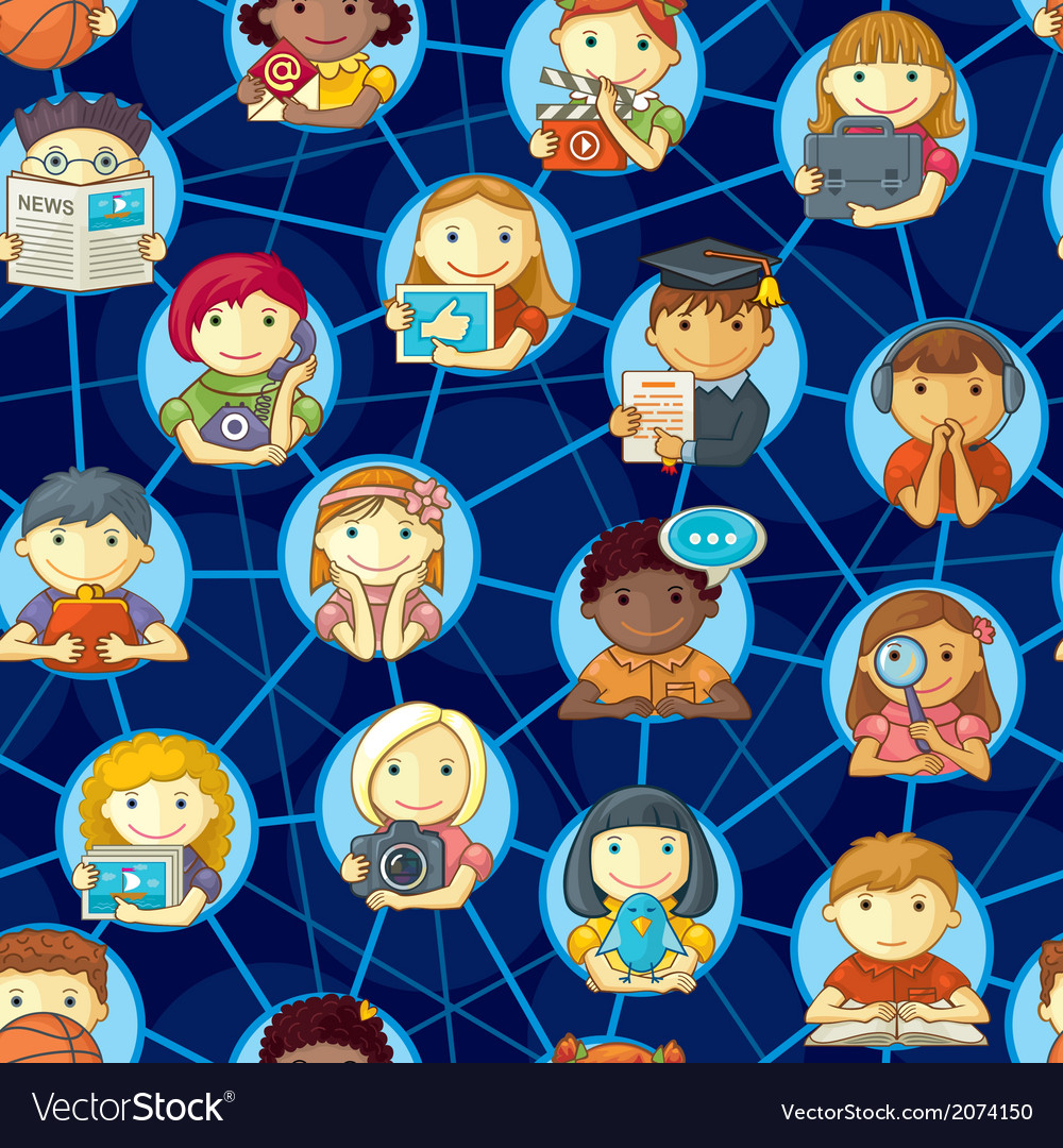Social network seamless pattern with cute vector | Price: 1 Credit (USD $1)