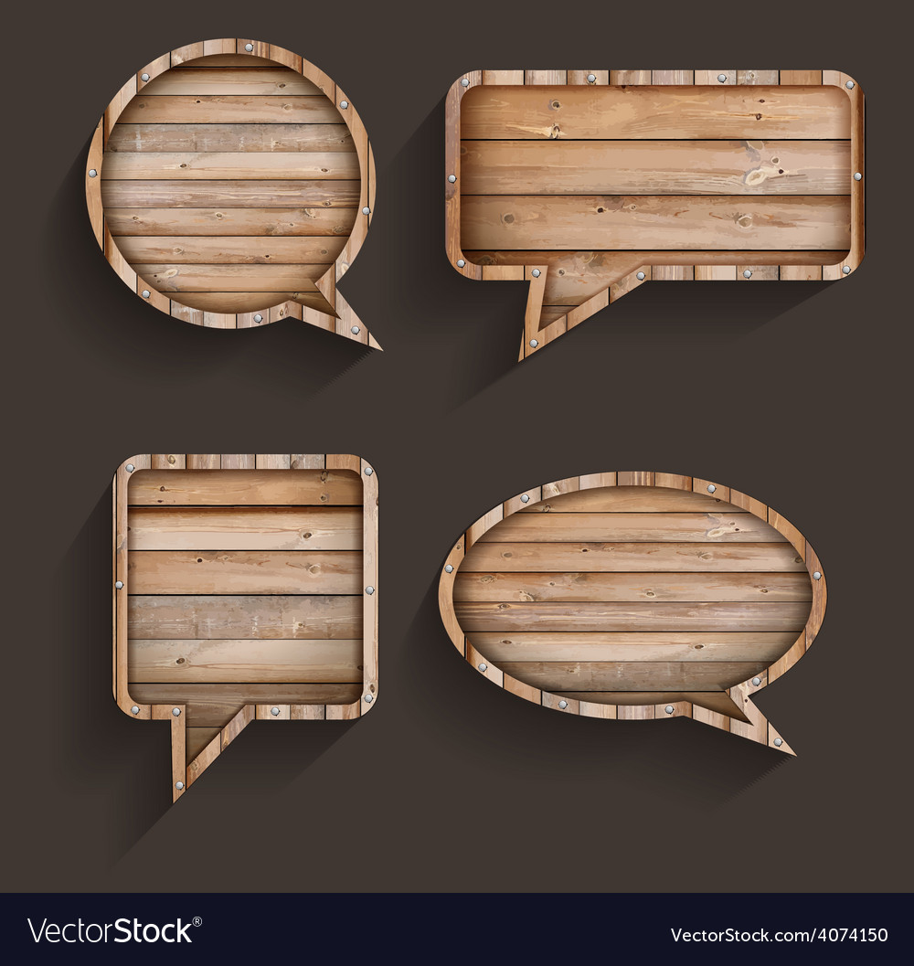 Wood sign of speech bubbles template design vector
