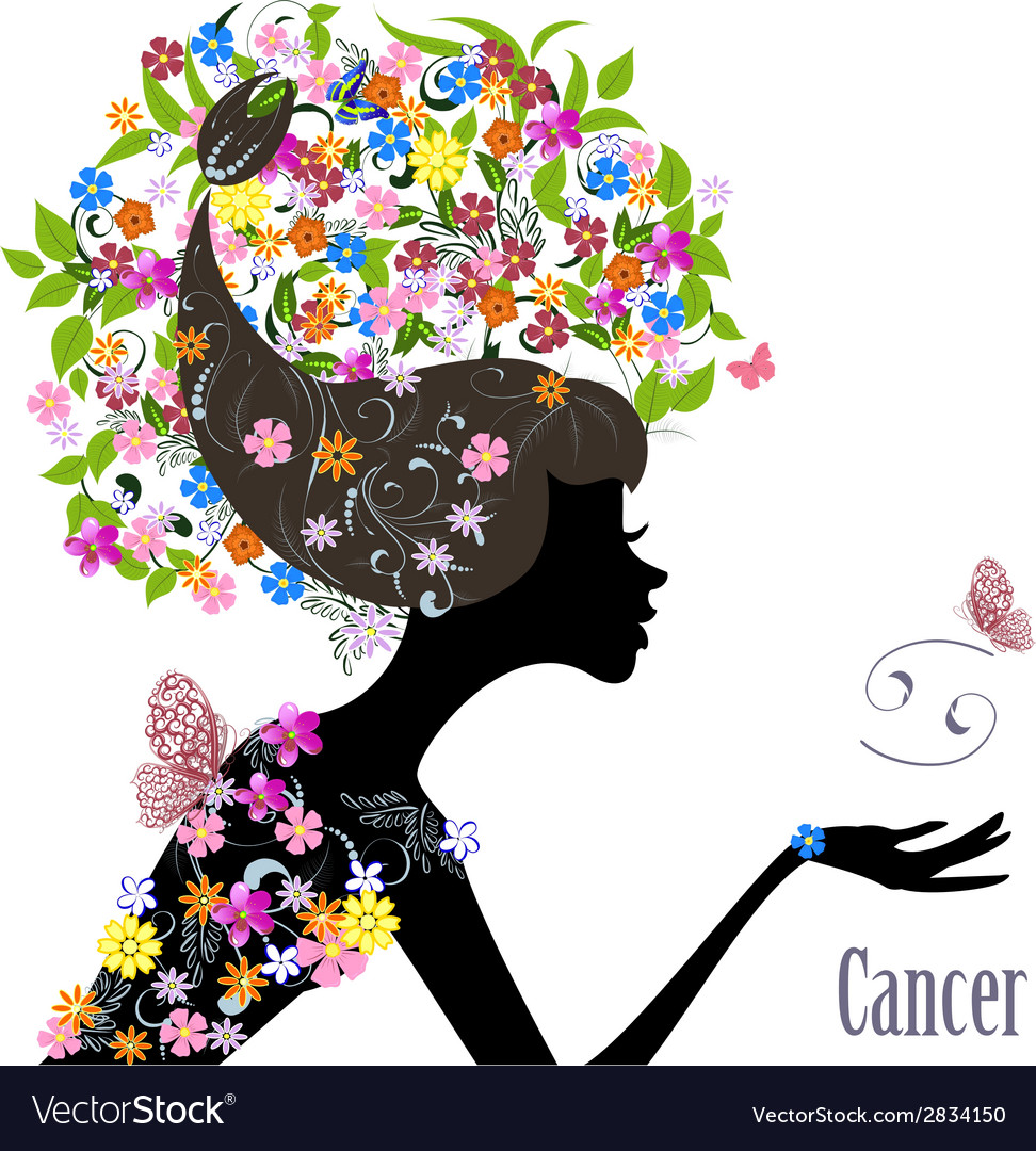 Zodiac sign cancer fashion girl vector | Price: 1 Credit (USD $1)