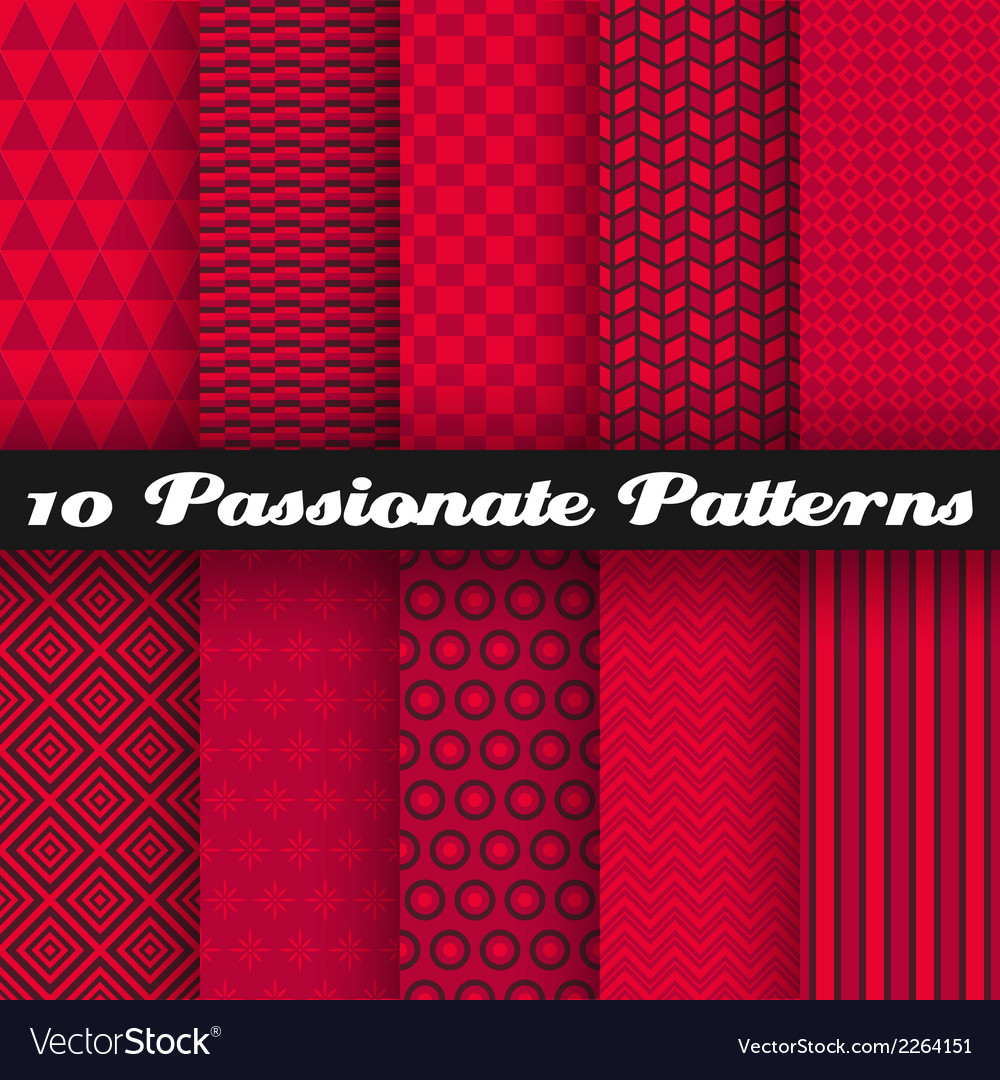 10 passionate seamless patterns tiling hot red vector | Price: 1 Credit (USD $1)