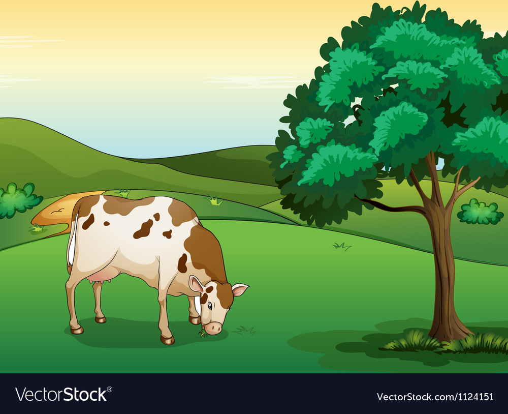 A cow eating grass vector | Price: 1 Credit (USD $1)