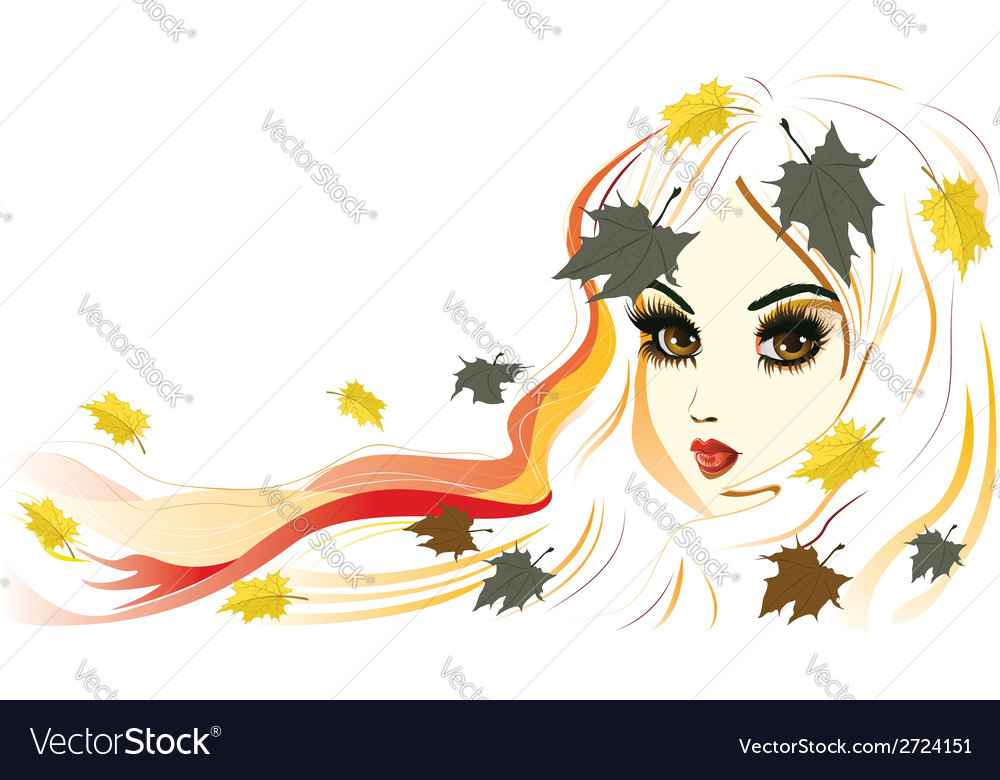 Autumn girl with white hair2 vector | Price: 1 Credit (USD $1)