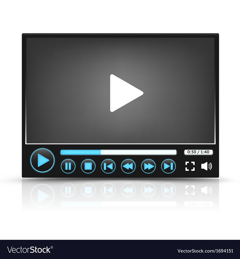 Black video player interface vector | Price: 1 Credit (USD $1)