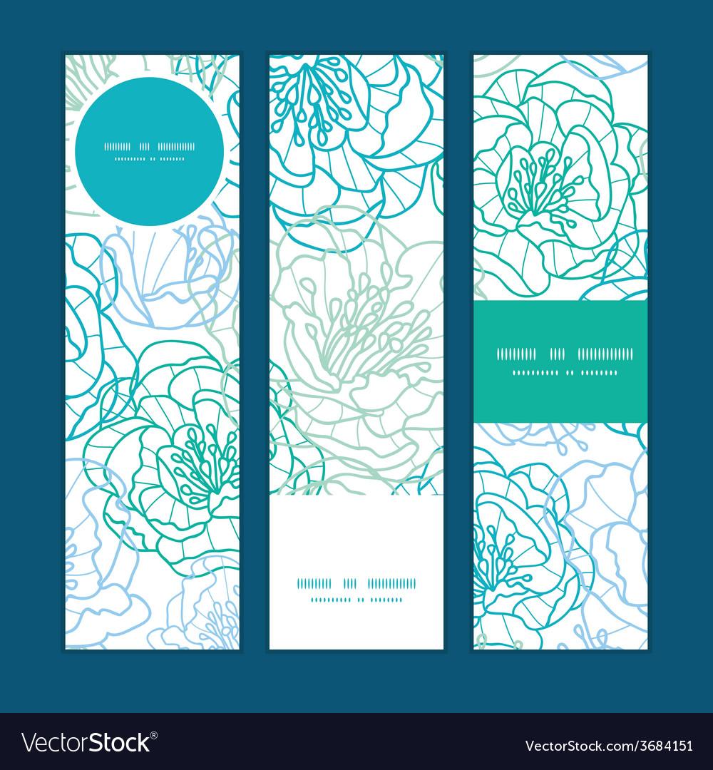 Blue line art flowers vertical banners set pattern vector | Price: 1 Credit (USD $1)