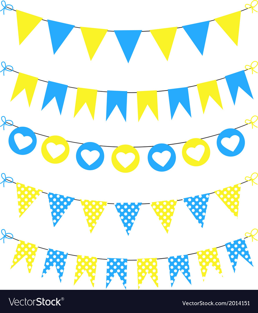 Bunting set yellow and blue for scrapbook vector | Price: 1 Credit (USD $1)