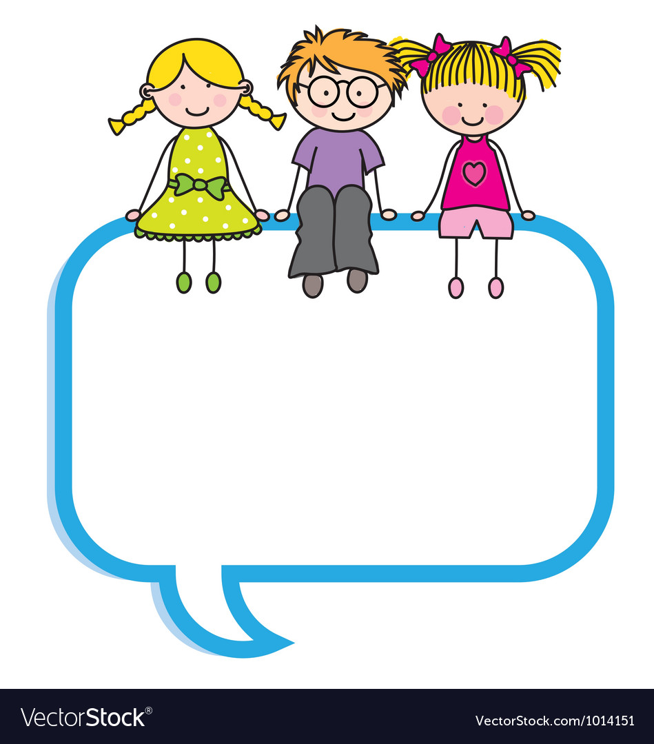 Children sitting in a speech bubble vector | Price: 1 Credit (USD $1)