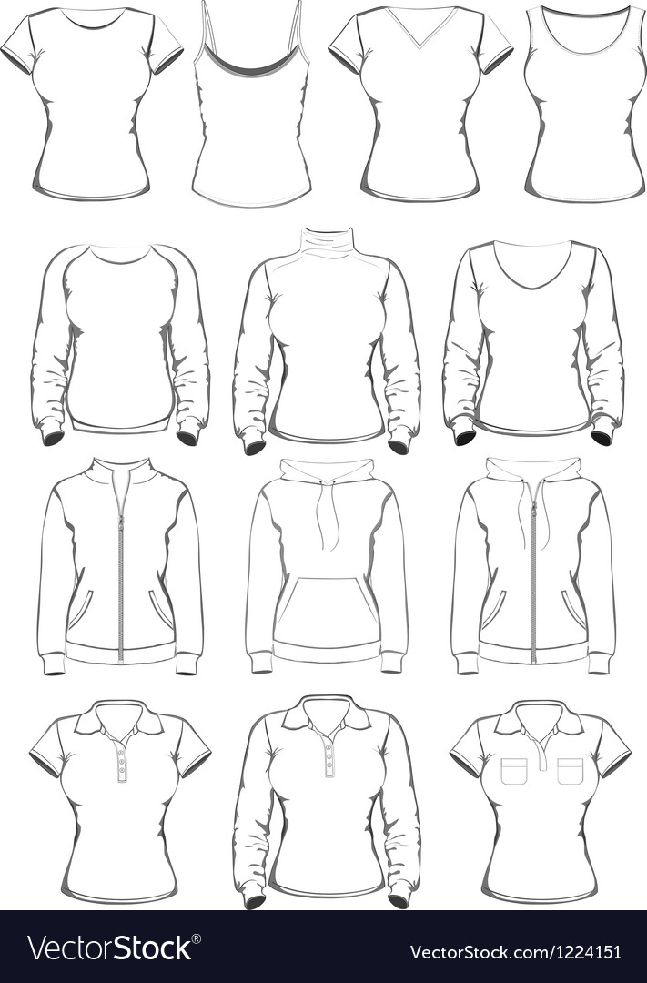 Collection of women clothes outline templates vector | Price: 1 Credit (USD $1)