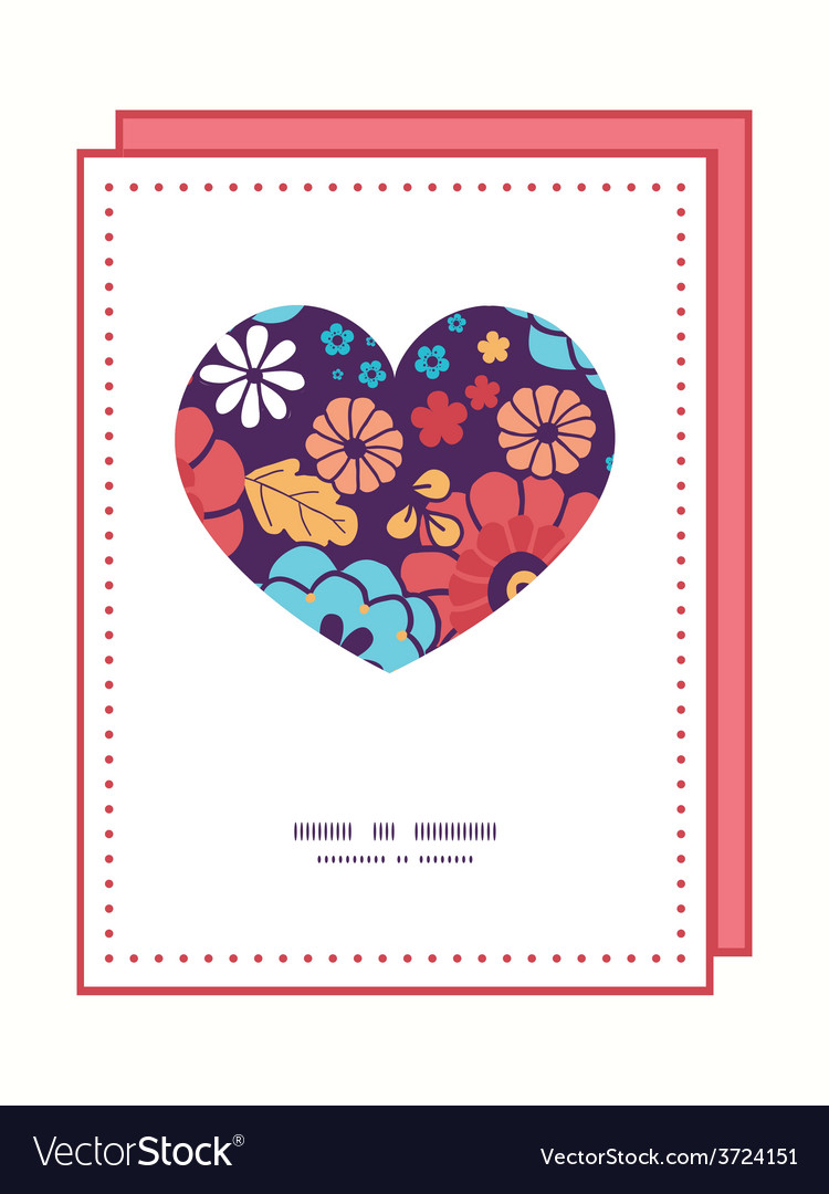 Colorful bouquet flowers heart symbol frame vector | Price: 1 Credit (USD $1)