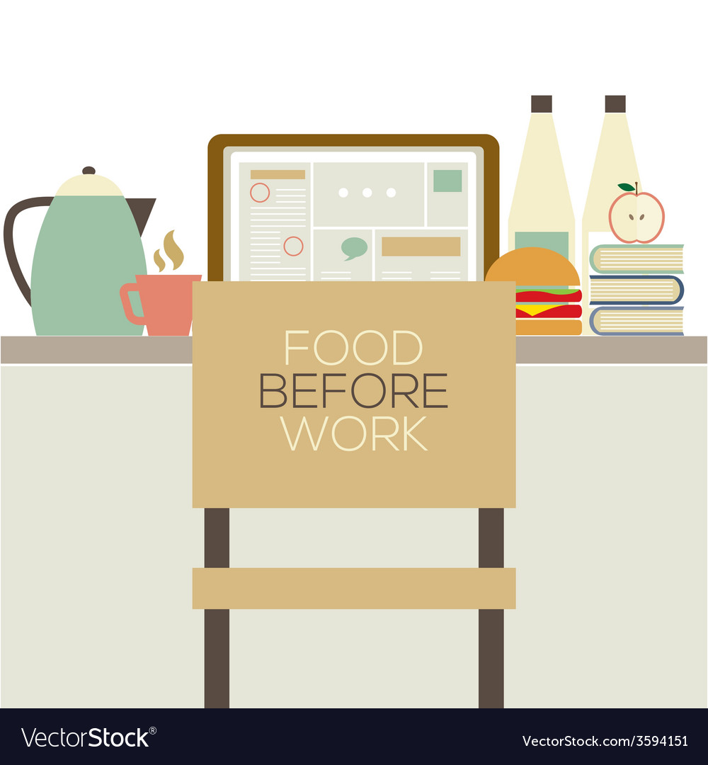 Food on the table for worker health concept vector | Price: 1 Credit (USD $1)