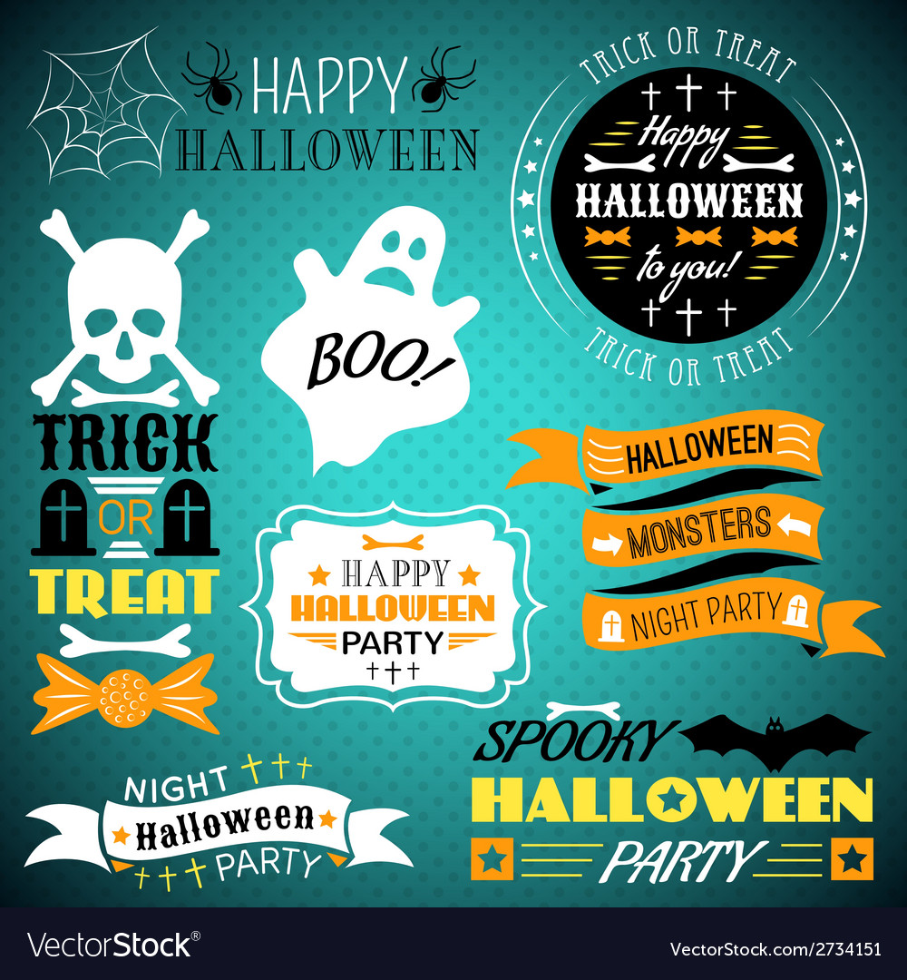 Halloween vintage set - labels ribbons vector | Price: 1 Credit (USD $1)