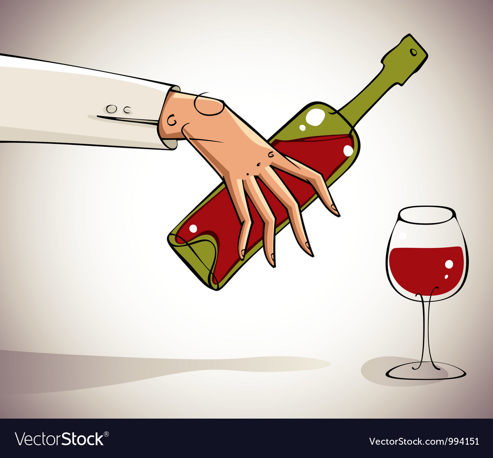 Hand pouring wine into glass vector | Price: 3 Credit (USD $3)