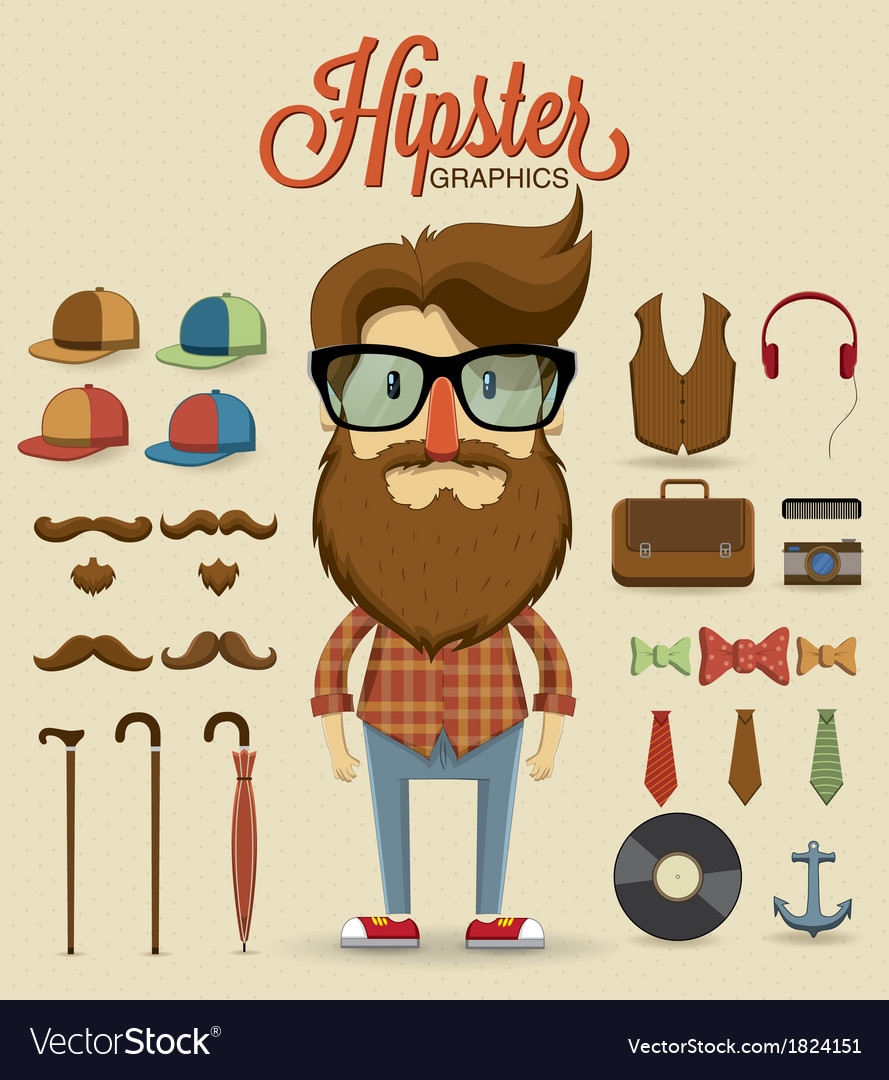 Hipster character design with hipster elements vector | Price: 1 Credit (USD $1)