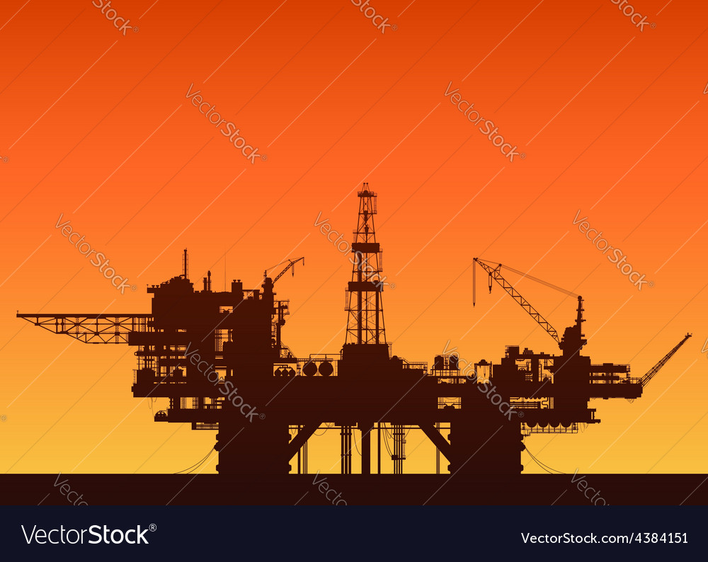 Sea oil rig at sunset oil platform in the sea vector   Price: 1 Credit (USD $1)