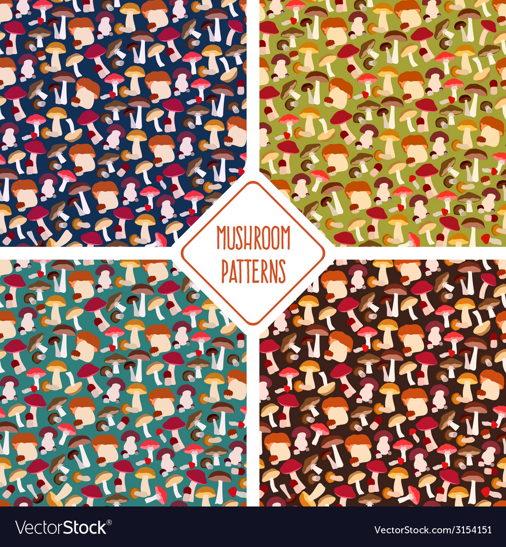 Seamless mushroom patterns set vector | Price: 1 Credit (USD $1)